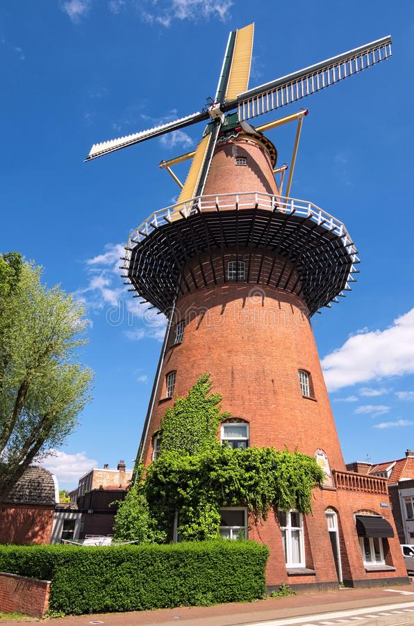 Windmill is one of the most famous symbols of the Netherlands. Traditional old mill in Utrecht, Netherlands. View in spring day royalty free stock photography