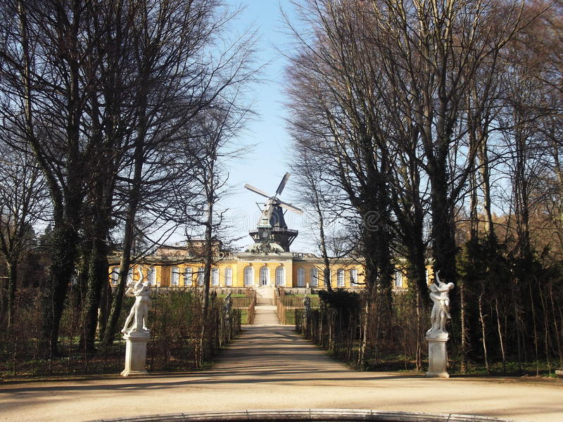 A view of the windmill in Sanssouci Park, Potsdam, Germany. Windmill in Sansouci Park, Potsdam, Germany. Potsdam was in the former GDR (East Germany royalty free stock photography