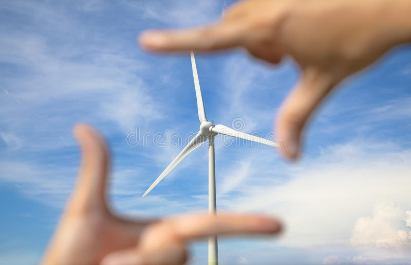 Download Windmill Power Generator With Hand Frame Stock Image - Image of environment, propeller: 31405287