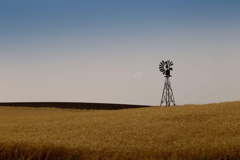 Windmill on a prairie farm stock photography