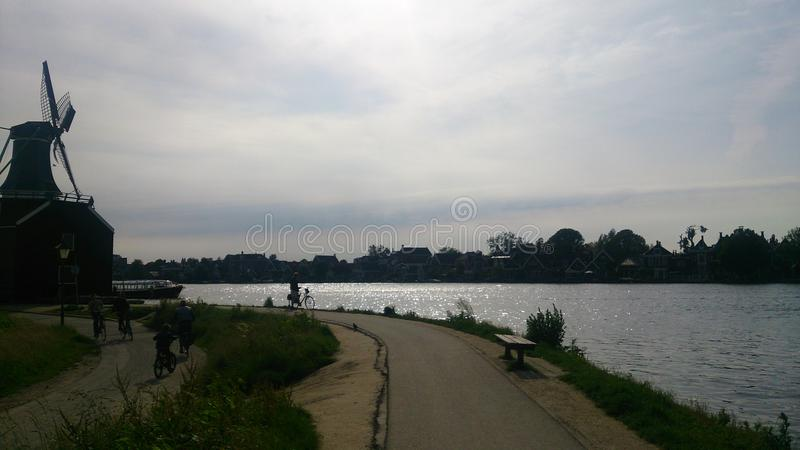 Download Windmill By The River Stock Photo - Image: 43559005