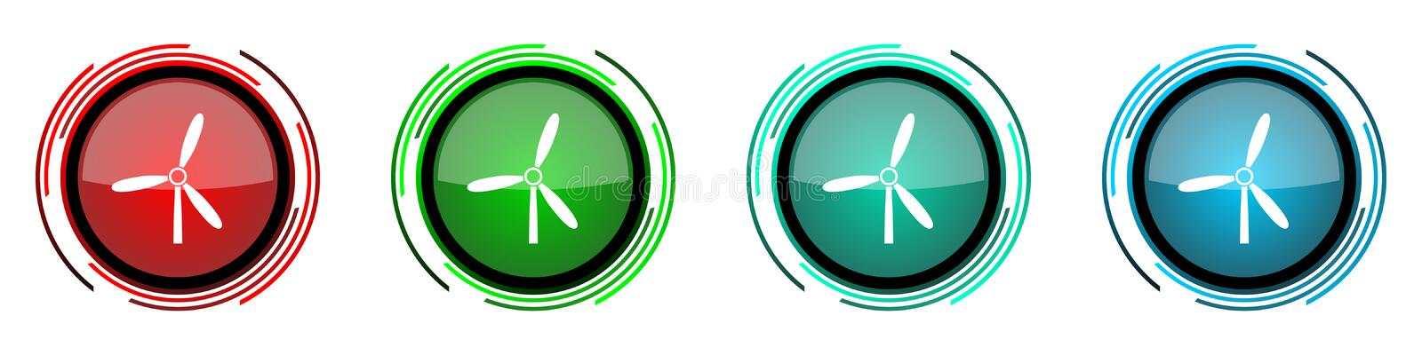 Windmill round glossy vector icons, set of buttons for webdesign, internet and mobile phone applications in four colors options. Isolated on white vector illustration