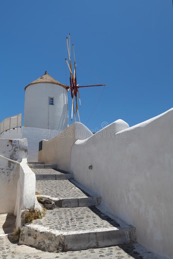 Windmill on Santorini island stock photos