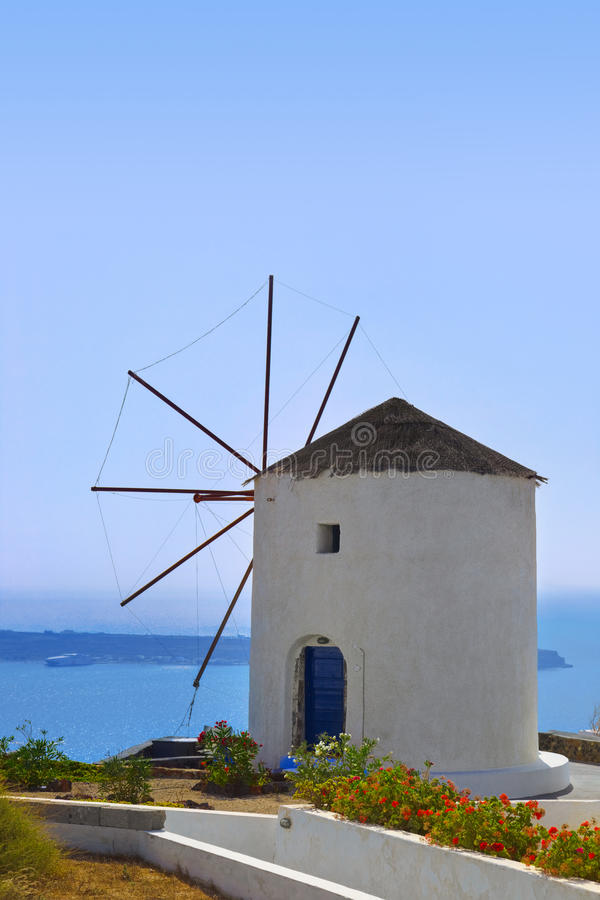 Windmill At Santorini Island, Greece Royalty Free Stock Photography