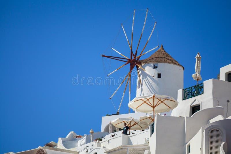 Windmill on Santorini royalty free stock photography
