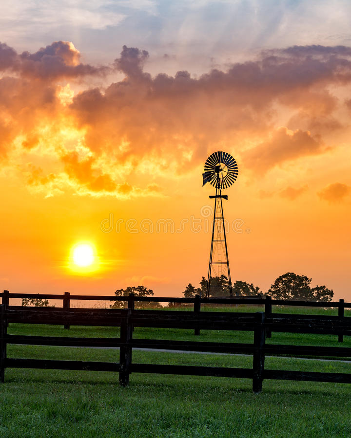 Windmill, scenic sunrise, Tennessee stock images