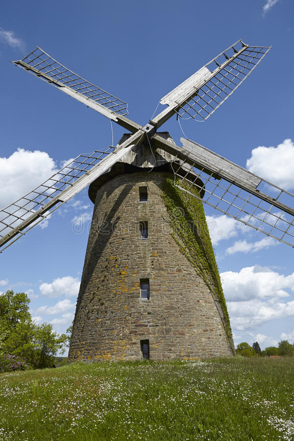 Windmill Seelenfeld (Petershagen, Germany). The windmill Seelenfeld (Petershagen, Germany) is a dutch type of windmill and is part of the Westphalia Mill Street stock image