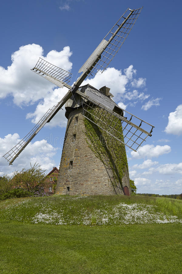 Windmill Seelenfeld (Petershagen, Germany). The windmill Seelenfeld (Petershagen, Germany) is a dutch type of windmill and is part of the Westphalia Mill Street stock photos