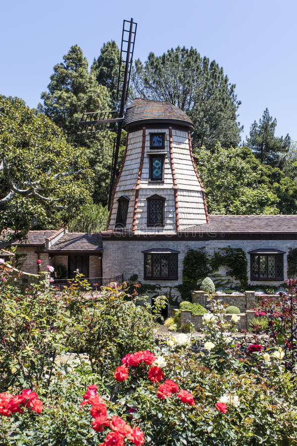 Windmill in the Self-Realization Fellowship Lake Shrine Temple in East Hollywood - Los Angeles - California. USA royalty free stock photos
