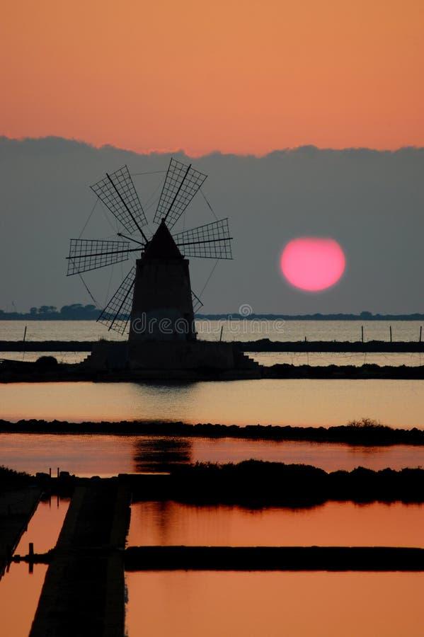 Download Windmill In A Sicilian Saline (Marsala) Stock Image - Image: 15654501