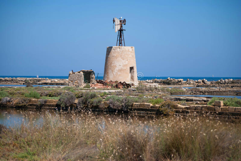 A Windmill in Sicily royalty free stock photos