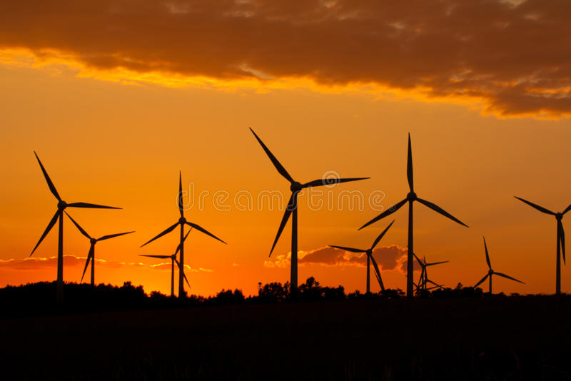 Windmill silhouette stock photography