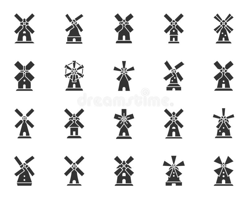 Vintage Windmill black silhouette icons vector set. Windmill silhouette icons set. Grain flour mill symbol, simple shape pictogram collection. Farm wind house vector illustration