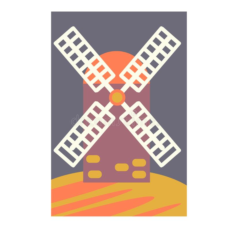 Windmill simple illustration on white background. Medieval series stock illustration