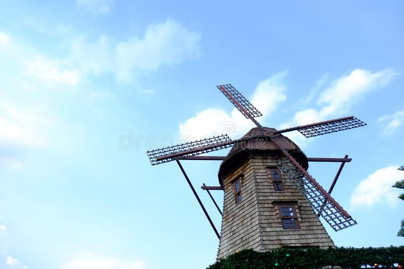 Windmill with sky background at Chocolate Ville Bangkok Thailand. On holiday royalty free stock image