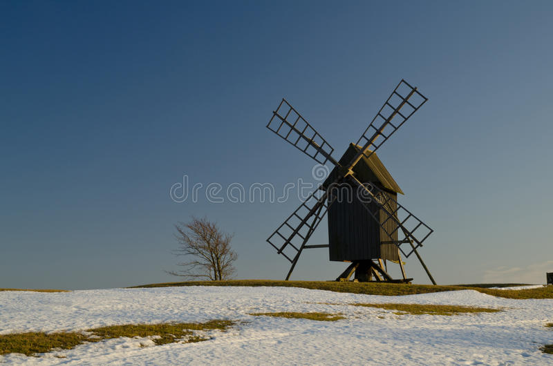 Windmill in springtime royalty free stock photography
