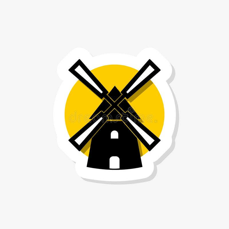 Windmill sticker icon in trendy design style. Windmill icon isolated on white background. Simple vector logo stock illustration