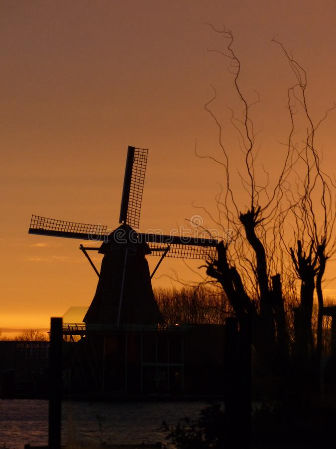 A windmill in the sunrise by the Zaanse Schans royalty free stock photo