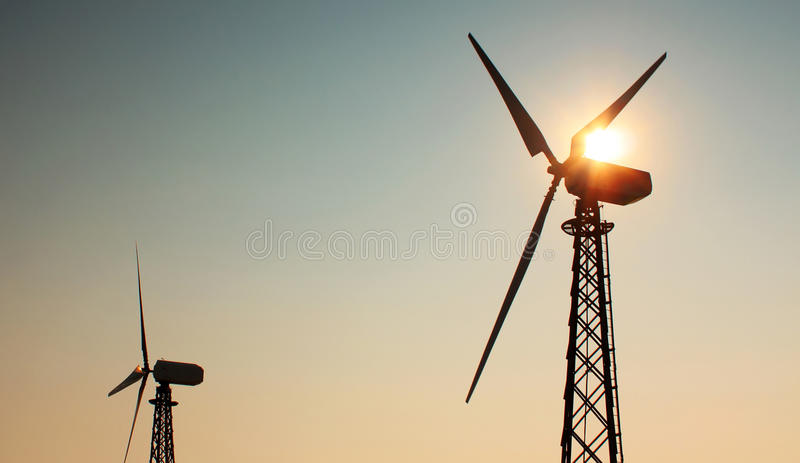 Download Windmill on sunset stock image. Image of metal, generate - 25653075