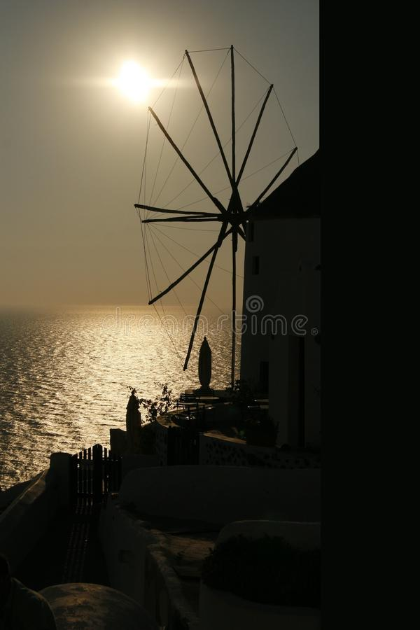 Windmill In The Sunset (Santorini, Greece) Royalty Free Stock Photos