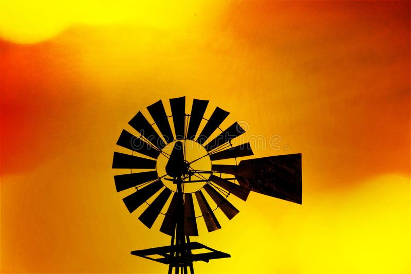 Windmill at Sunset royalty free stock images