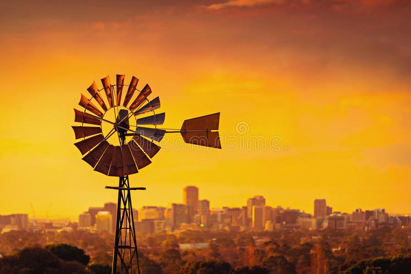 Windmill at sunset in South Australia stock images