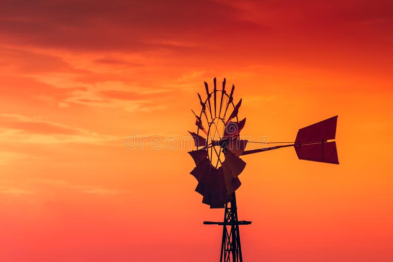 Windmill at sunset in South Australia royalty free stock photography