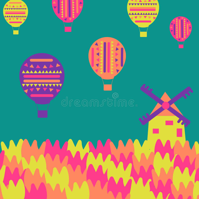 Windmill, tulips, balloons on a simple background royalty free illustration
