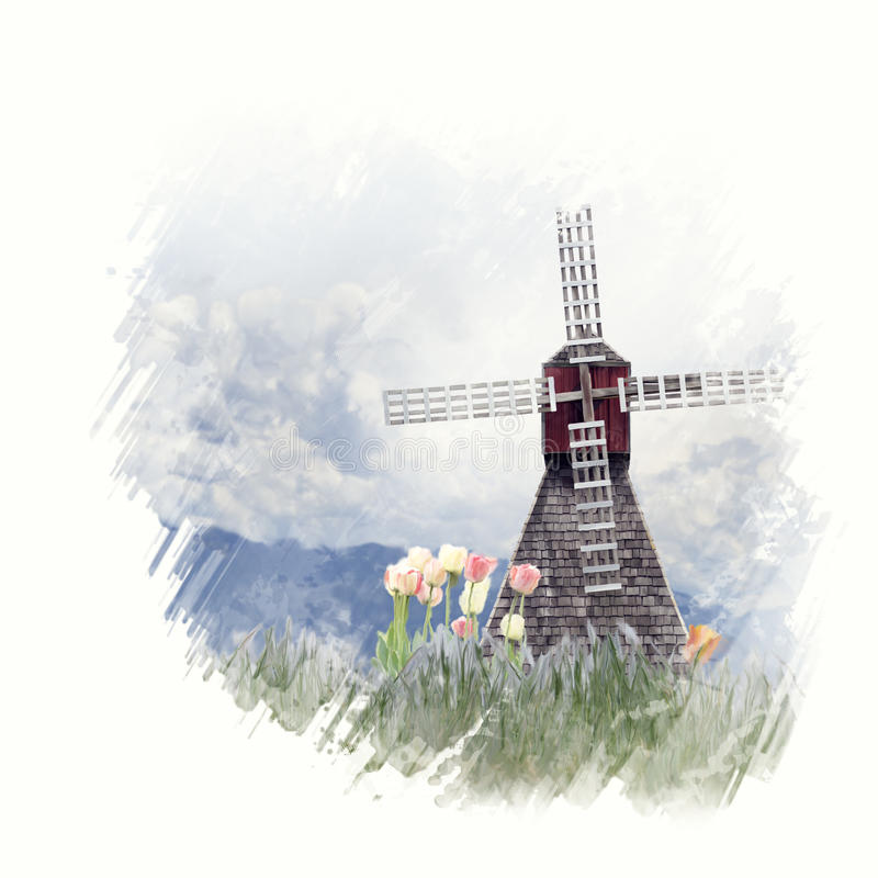 Windmill and tulips watercolor vector illustration
