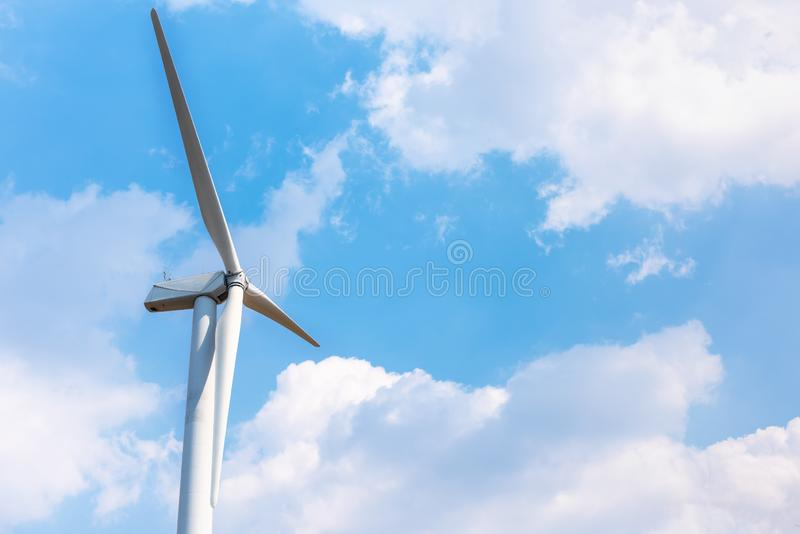 Windmill Turbine of Electric Energy at Offshore Farm on Sky Background, Renewable Energy Of Green Natural, Environment Electricity royalty free stock images