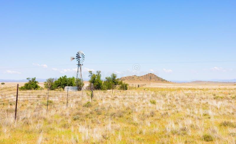 Windmill in un'azienda agricola situata nella zona rurale di prateria del Sudafrica fotografia stock libera da diritti