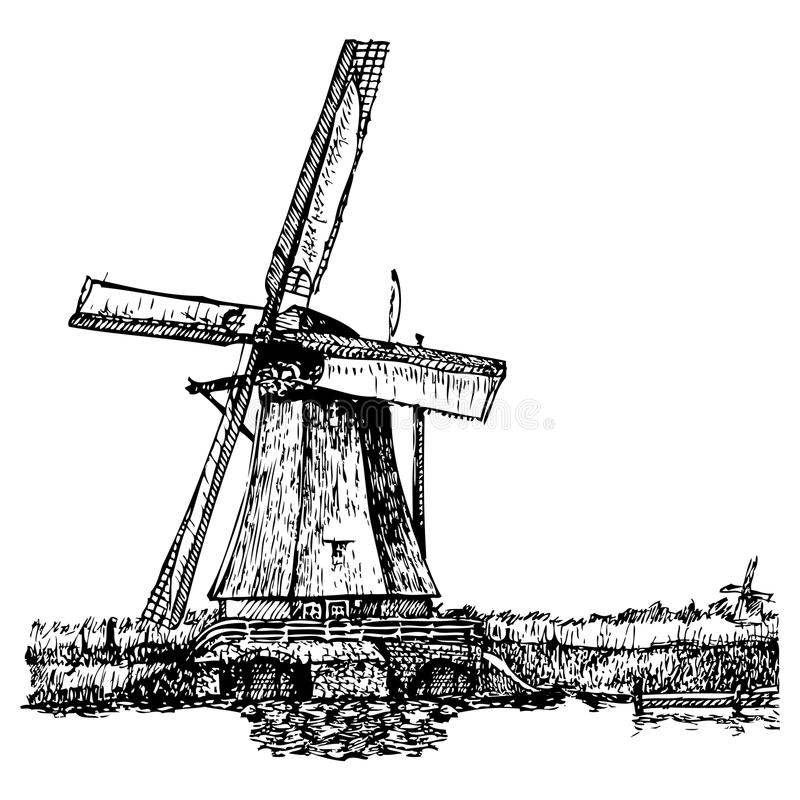 Windmill. Vector illustration of a windmill stylized as engraving. A traditional mill in Holland. Kinderdijk royalty free illustration