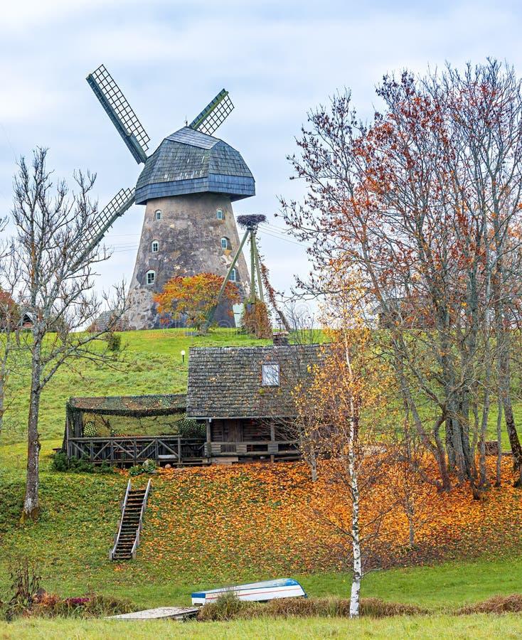 Windmill in Vidzeme hills, Latvia, Europe royalty free stock photo