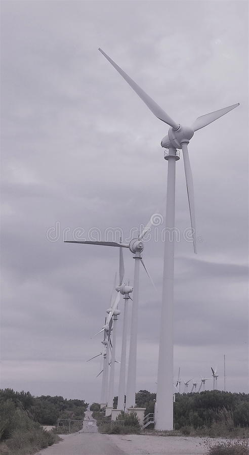 Windmill view, renewable energy. Windmill view for electric power production, renewable energy sources stock photos