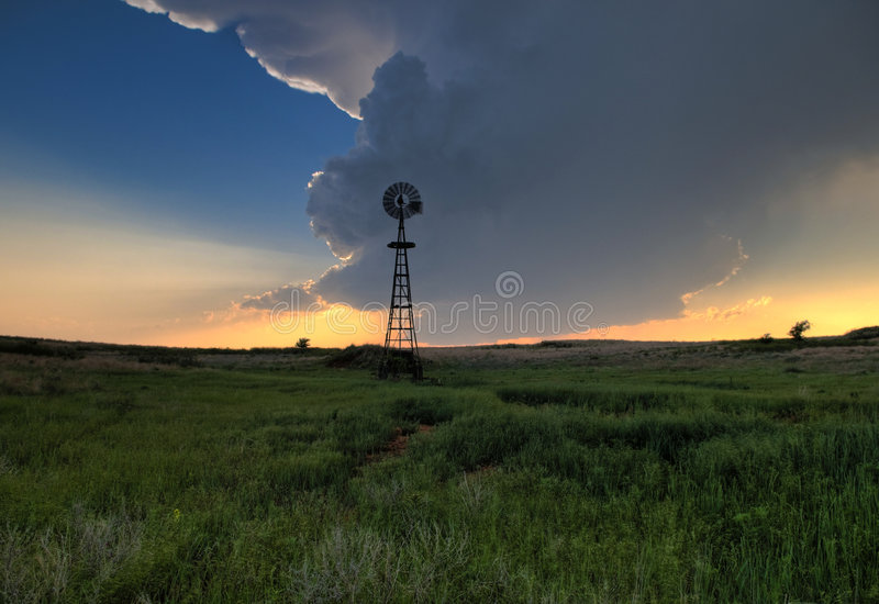 Windmill and Wallcloud. Windmill and Wall Cloud in Oklahoma stock image