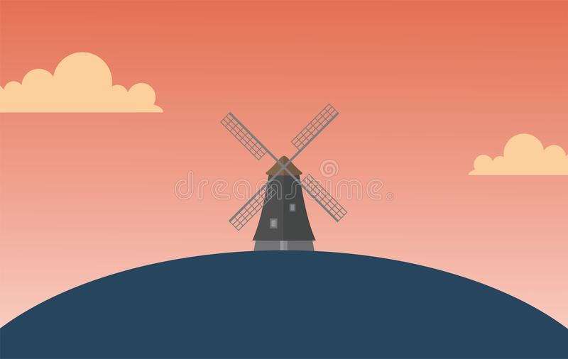 Windmill Wallpaper. Windmill simple wallpaper with sunset atmosphere in vector royalty free illustration