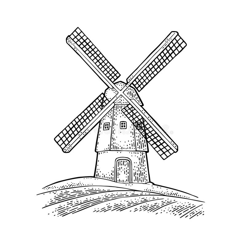 Windmill on wheat field. Vintage vector black engraving illustration. For label, badges, poster, web, icon bakery shop. Isolated on white background stock illustration
