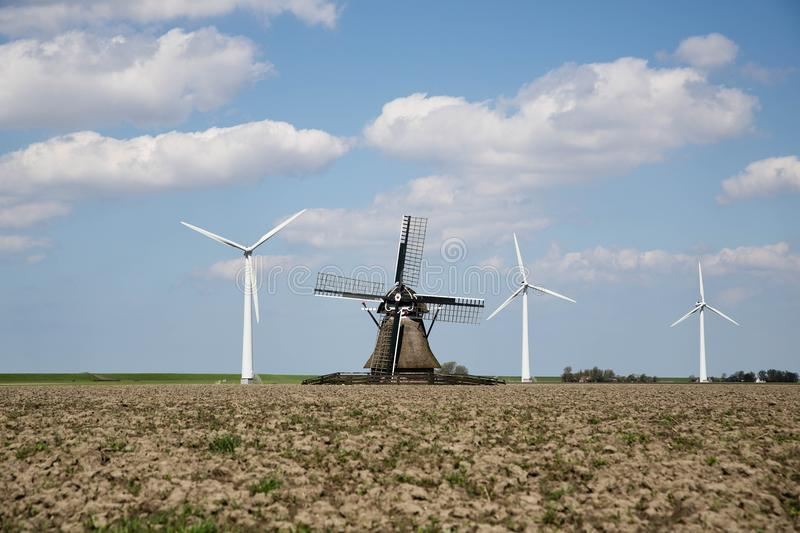 Windmill, Wind Farm, Wind Turbine, Field royalty free stock photos