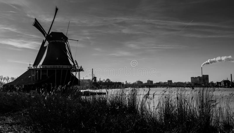 Windmill at zaanse schans the netherlands stock photo