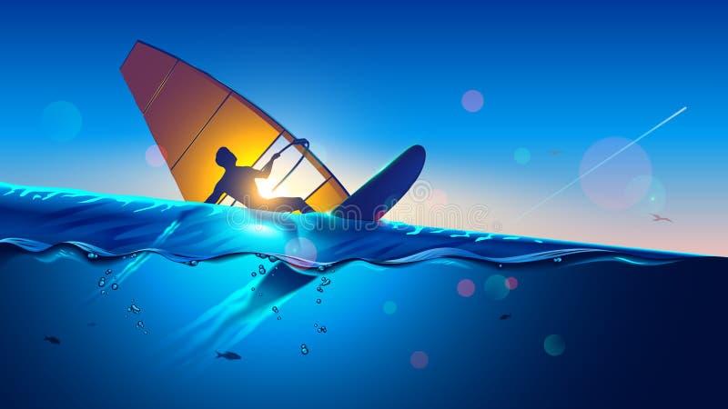 windmilling Молодой человек на летании доски серфинга ветра на волнах Windsurfer на ландшафте моря весьма спорт иллюстрация вектора