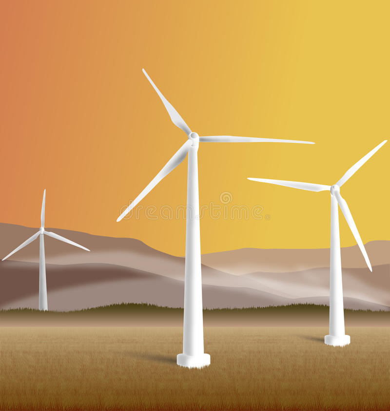 windmills illustration stock