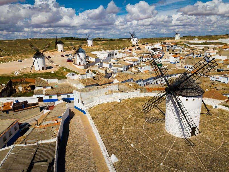 Windmills in Campo de Criptana. Scenic view from drone of old mills Campo de Criptana, Spain stock image