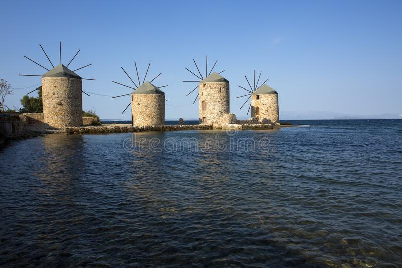 Windmills of Chios Island, Greece. Travel concept photo royalty free stock image