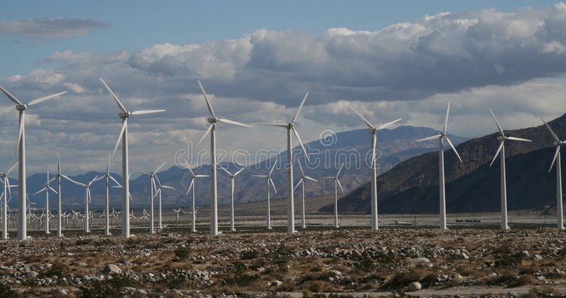 Windmills in the distance stock photo
