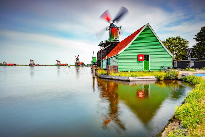 Windmills, Dutch countryside royalty free stock image