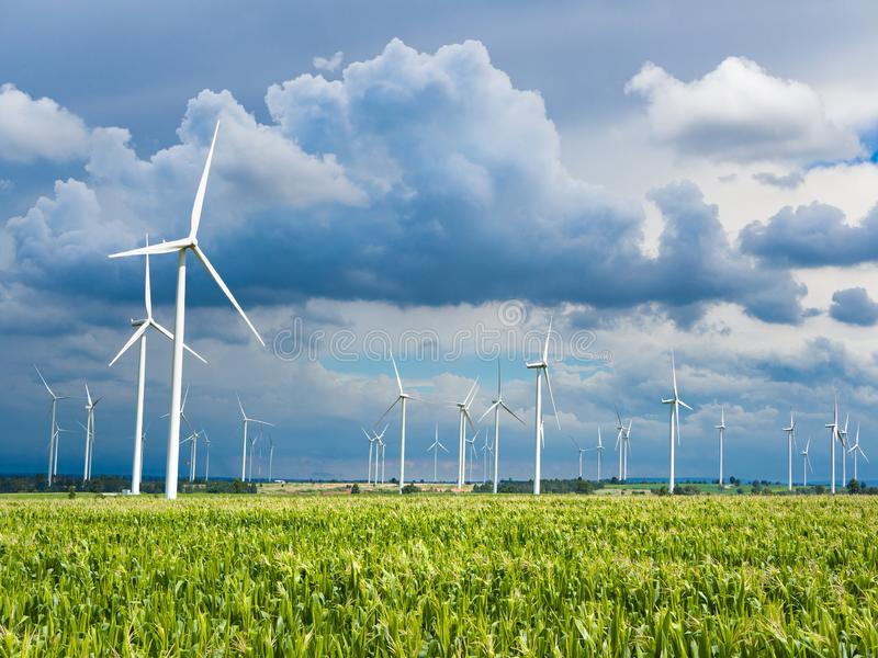 A Wind Turbine on a Wind Farm. Windmills for electric power production royalty free stock photos