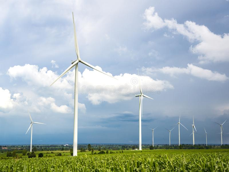 A Wind Turbine on a Wind Farm. Windmills for electric power production stock images