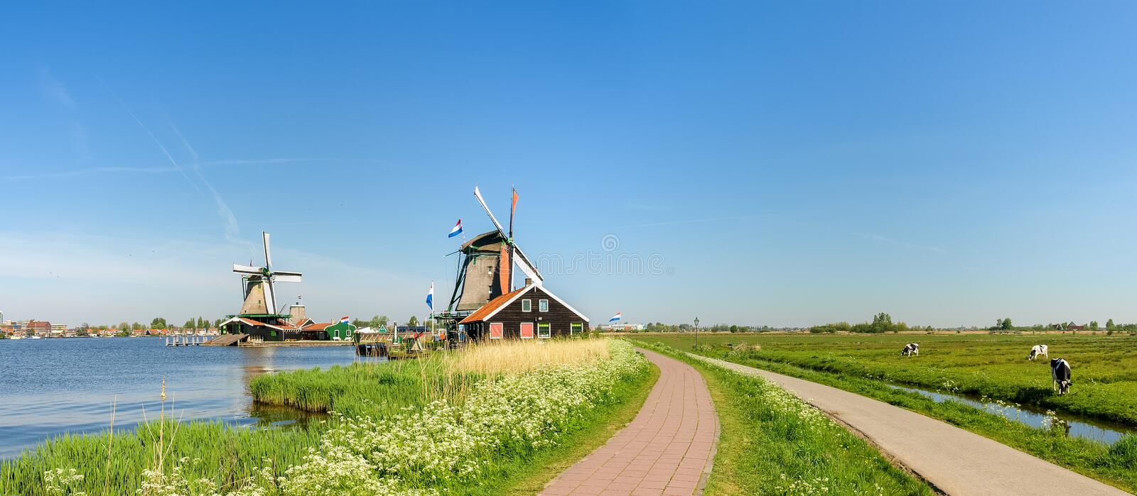 Windmills in ethnographic open-air museum Zaanse Schans, Netherlands. Two windmills - oil mill and sawmill by the lake in the ethnographic open-air museum Zaanse royalty free stock images