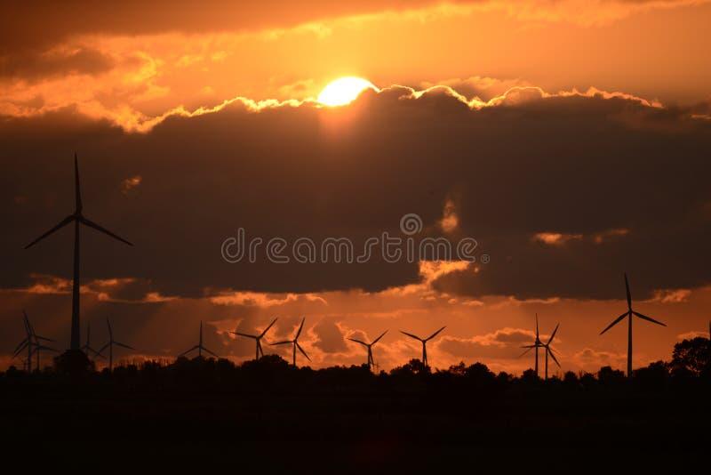 Windmills before evening evening sun royalty free stock photos