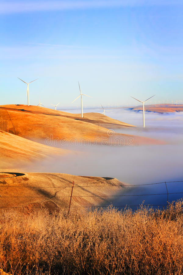 Windmills and Fog royalty free stock photos